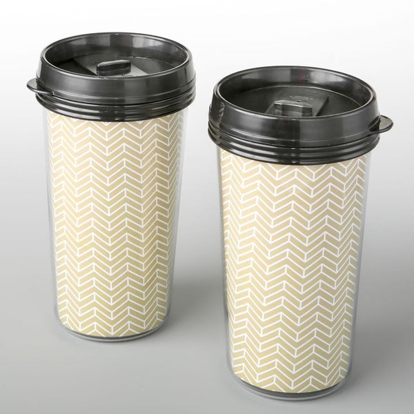 Double wall insulated Coffee cup with gold chevron design from fashioncraft-Personalized Coasters-JadeMoghul Inc.