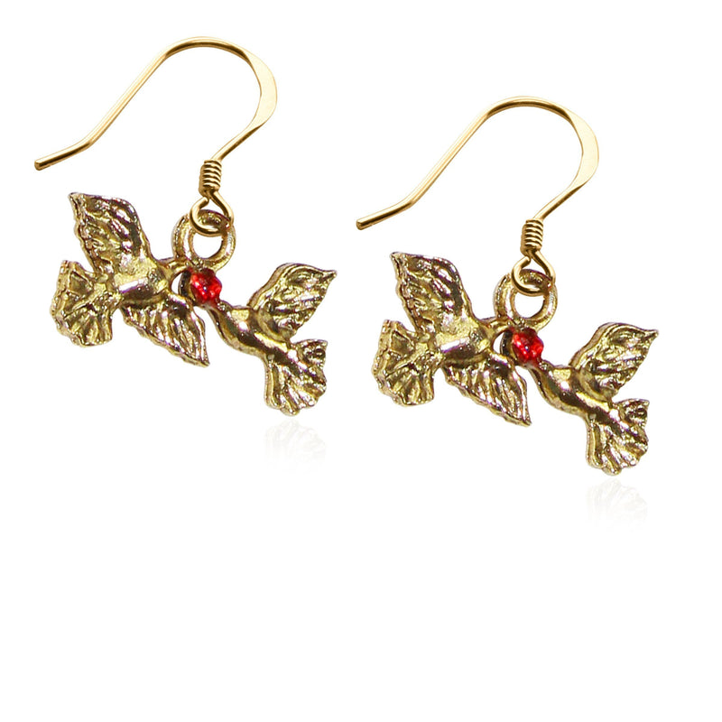 Doves Kissing Charm Earrings in Gold-Charm-JadeMoghul Inc.