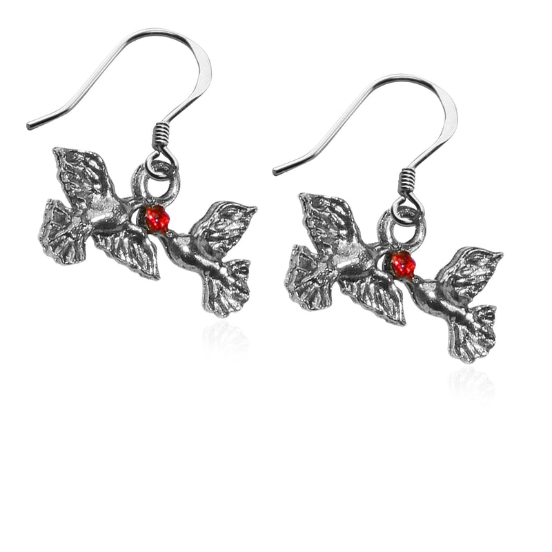 Doves Kissing Charm Earrings in Silver-Charm-JadeMoghul Inc.