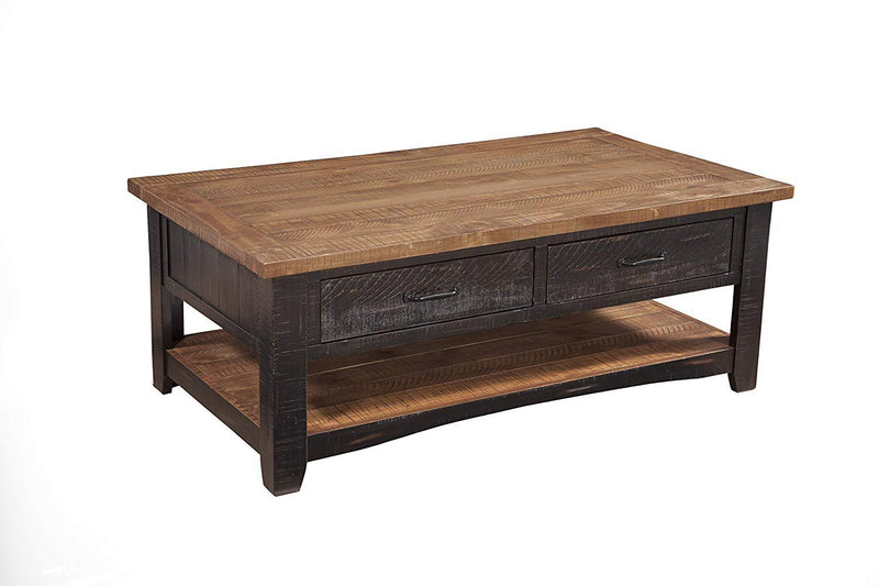 Dual Tone Wooden Coffee Table With Two Drawers, Antique Black and Honey Tobacco Brown-Coffee Tables-Black, Brown-Pine-JadeMoghul Inc.