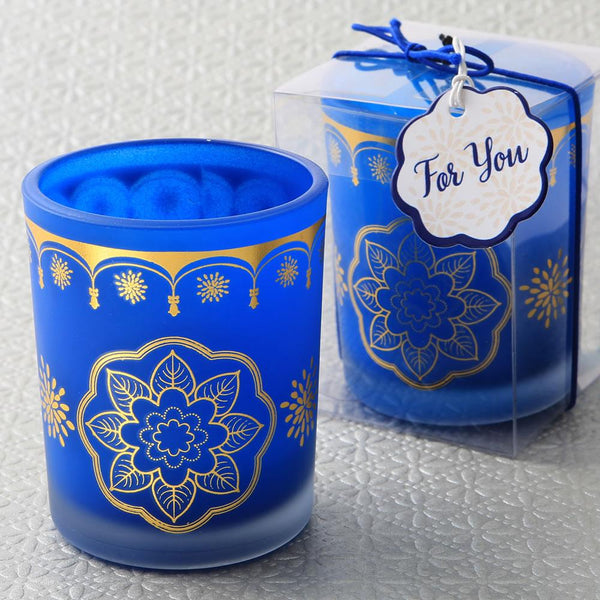 East Indian / Moroccan themed Blue frosted glass votive candle with printed gold design-Wedding Reception Decorations-JadeMoghul Inc.