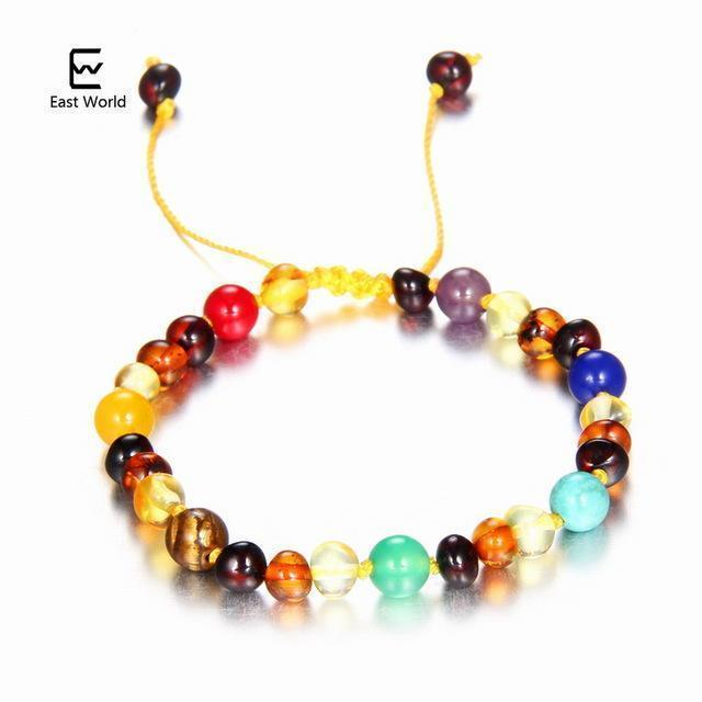 EAST WORLD Baby Adult Amber Bracelet Anklet Best Natural Jewelry Gifts for Women Ladies Girls Handmade Multi Color Strand Bijoux-design 2-adult 16cm with 9cm-JadeMoghul Inc.