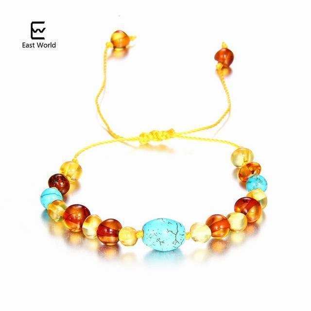 EAST WORLD Baby Adult Amber Bracelet Anklet Best Natural Jewelry Gifts for Women Ladies Girls Handmade Multi Color Strand Bijoux-design 3-adult 16cm with 9cm-JadeMoghul Inc.