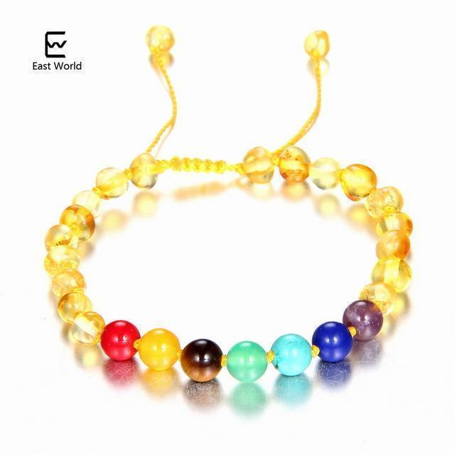 EAST WORLD Baby Adult Amber Bracelet Anklet Best Natural Jewelry Gifts for Women Ladies Girls Handmade Multi Color Strand Bijoux-design 4-adult 16cm with 9cm-JadeMoghul Inc.