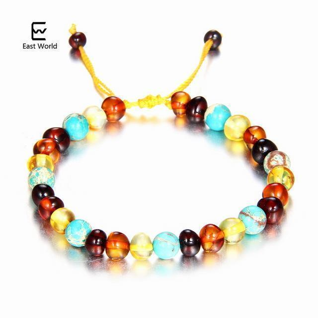 EAST WORLD Baby Adult Amber Bracelet Anklet Best Natural Jewelry Gifts for Women Ladies Girls Handmade Multi Color Strand Bijoux-design 5-adult 16cm with 9cm-JadeMoghul Inc.