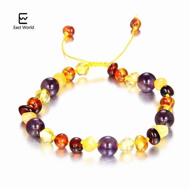 EAST WORLD Baby Adult Amber Bracelet Anklet Best Natural Jewelry Gifts for Women Ladies Girls Handmade Multi Color Strand Bijoux-design 6-adult 16cm with 9cm-JadeMoghul Inc.