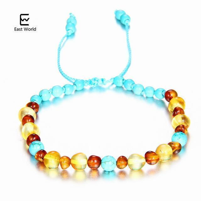 EAST WORLD Baby Adult Amber Bracelet Anklet Best Natural Jewelry Gifts for Women Ladies Girls Handmade Multi Color Strand Bijoux-design 7-adult 16cm with 9cm-JadeMoghul Inc.