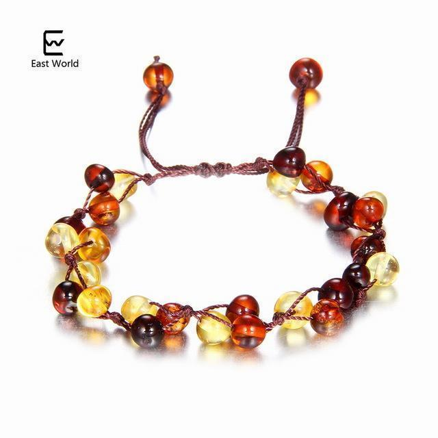 EAST WORLD Baby Adult Amber Bracelet Anklet Best Natural Jewelry Gifts for Women Ladies Girls Handmade Multi Color Strand Bijoux-design 8-adult 16cm with 9cm-JadeMoghul Inc.