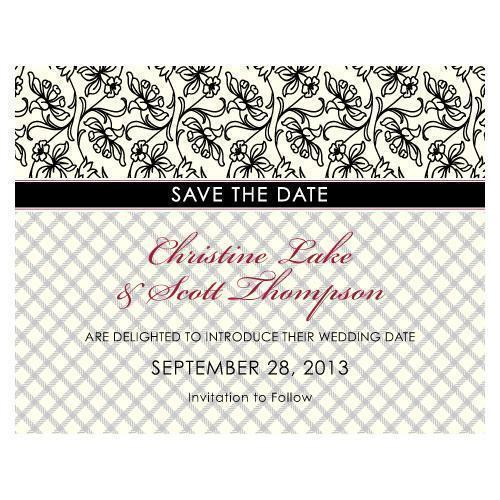 Eclectic Patterns Save The Date Card Vintage Pink (Pack of 1)-Weddingstar-Black-JadeMoghul Inc.