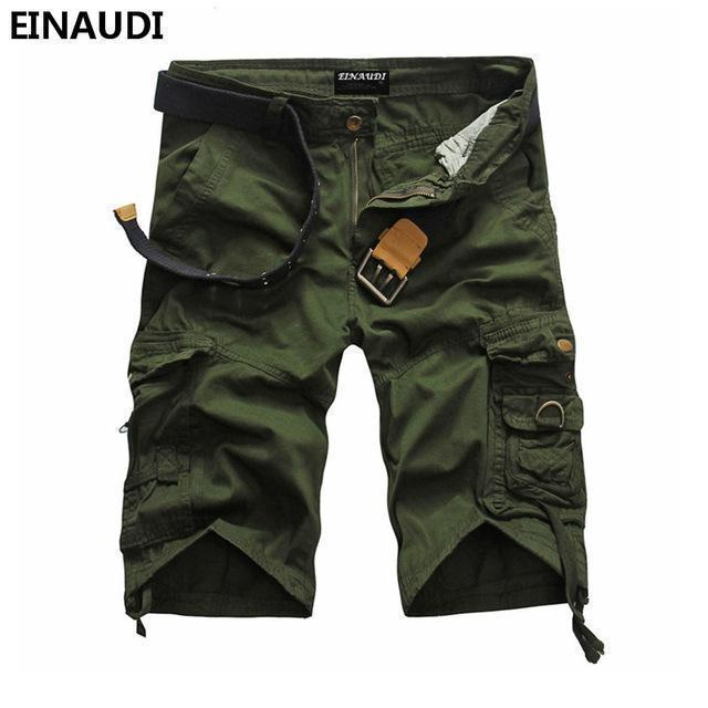 EINAUDI New England Style Men Summer Short Pants Knee Length Military Cargo Camouflage Shorts Loose Bermuda Trousers 5497-army green-34-JadeMoghul Inc.