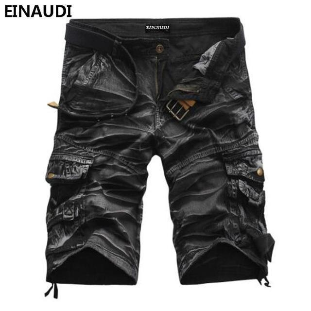 EINAUDI New England Style Men Summer Short Pants Knee Length Military Cargo Camouflage Shorts Loose Bermuda Trousers 5497-black camouflage-34-JadeMoghul Inc.