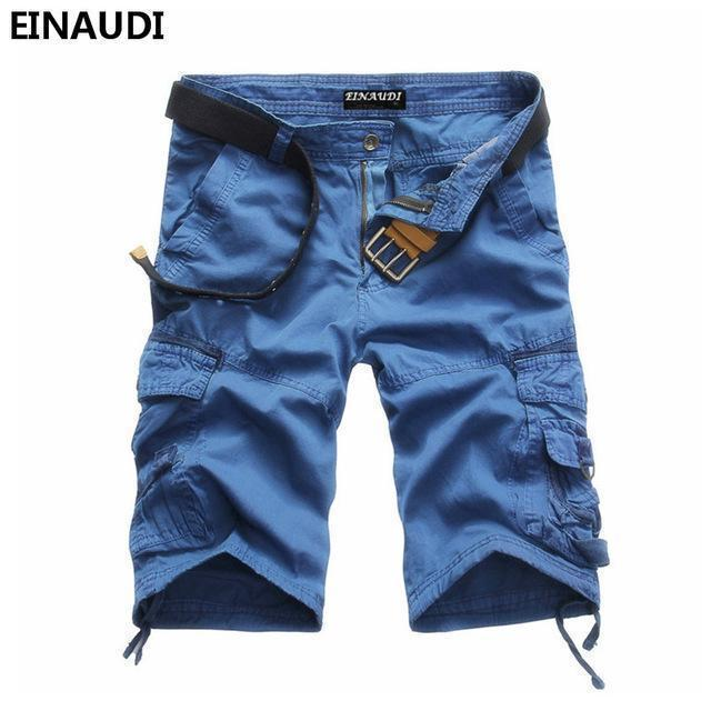 EINAUDI New England Style Men Summer Short Pants Knee Length Military Cargo Camouflage Shorts Loose Bermuda Trousers 5497-blue-34-JadeMoghul Inc.