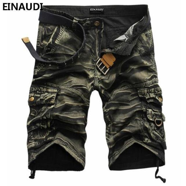EINAUDI New England Style Men Summer Short Pants Knee Length Military Cargo Camouflage Shorts Loose Bermuda Trousers 5497-green camouflage-34-JadeMoghul Inc.