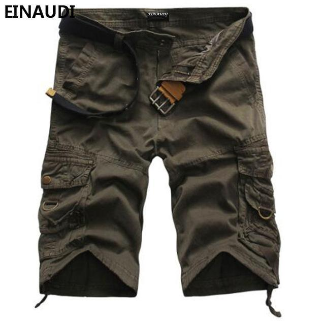 EINAUDI New England Style Men Summer Short Pants Knee Length Military Cargo Camouflage Shorts Loose Bermuda Trousers 5497-grey-34-JadeMoghul Inc.