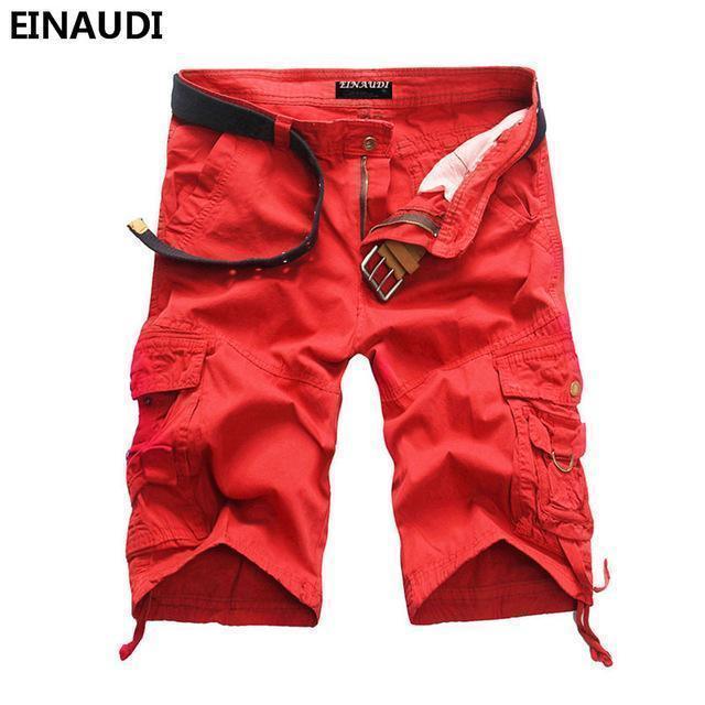 EINAUDI New England Style Men Summer Short Pants Knee Length Military Cargo Camouflage Shorts Loose Bermuda Trousers 5497-red-34-JadeMoghul Inc.