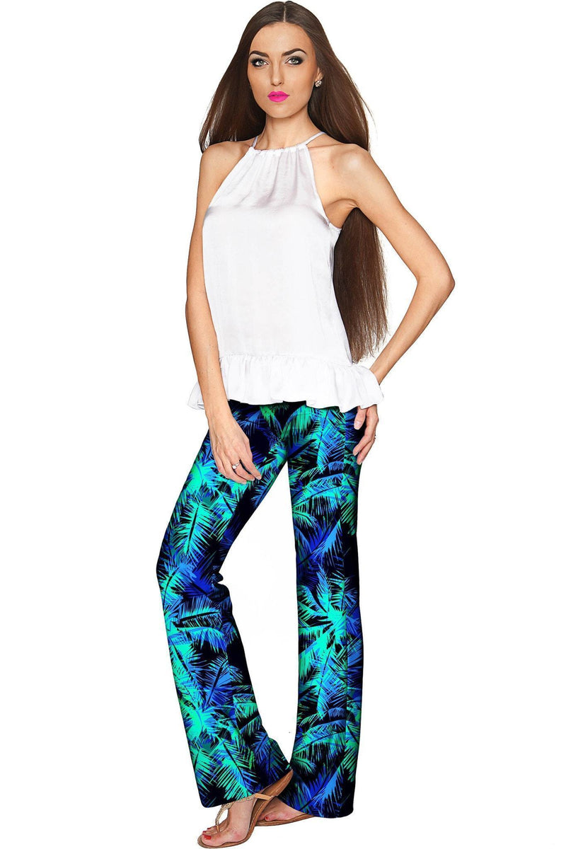 Electric Jungle Amelia Green Printed Palazzo Pant - Women-Electric Jungle-XS-Navy/Blue/Green-JadeMoghul Inc.
