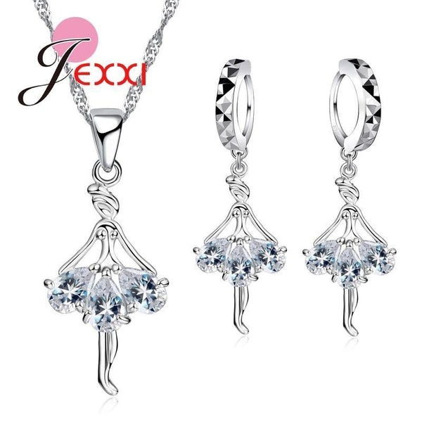 Elegant 925 Sterling Silver Ballerina Necklace Earrings Set With Shiny Crystals--JadeMoghul Inc.