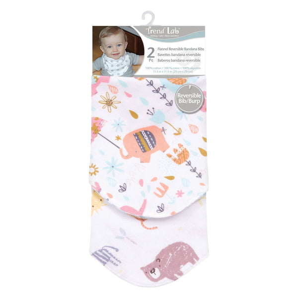 Elephant Jungle 2 Pack Reversible Flannel Bandana Bib Set-WHIM-G-JadeMoghul Inc.