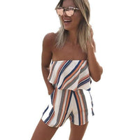 ELSVIOS Women Rompers print lace Jumpsuit Summer Short pleated Overalls Jumpsuit Female chest wrapped strapless Playsuit-2-L-JadeMoghul Inc.