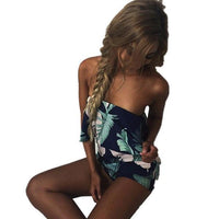 ELSVIOS Women Rompers print lace Jumpsuit Summer Short pleated Overalls Jumpsuit Female chest wrapped strapless Playsuit-3-L-JadeMoghul Inc.