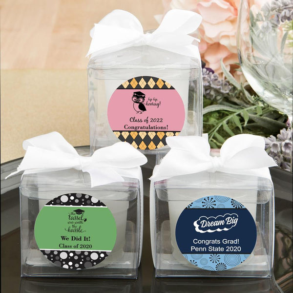 <em>Fashioncraft's Personalized Expressions Collection</em> Candle Favors - Graduation-Wedding Reception Decorations-JadeMoghul Inc.