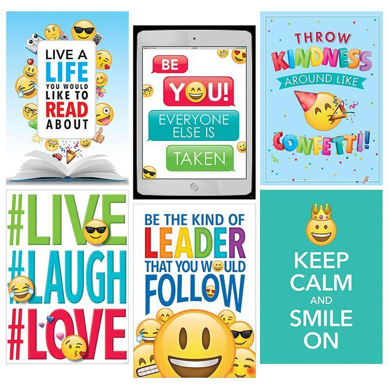 EMOJI FUN INSPIRE U 6 PACK POSTERS-Learning Materials-JadeMoghul Inc.