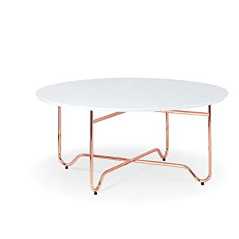 Enchanting Coffee Table, White & Copper-Coffee Tables-White & Copper-MDF Metal-JadeMoghul Inc.