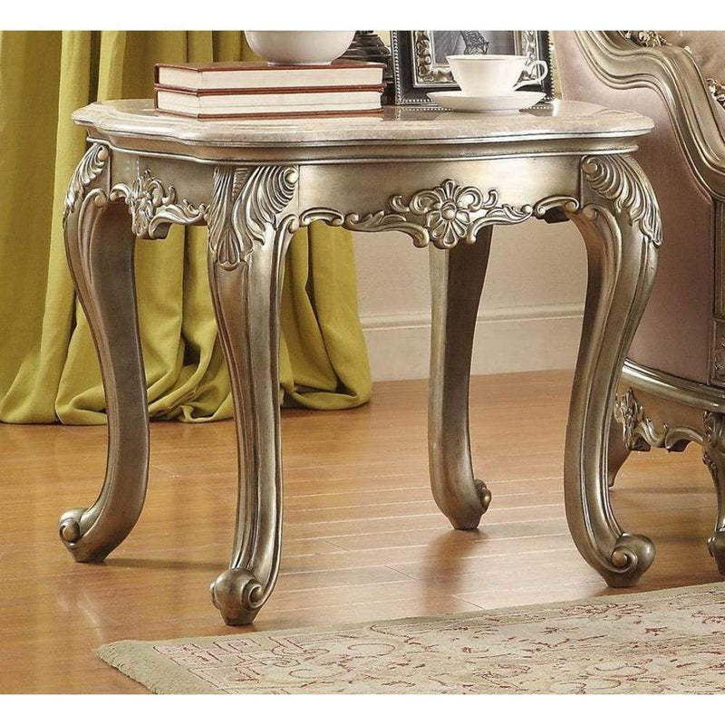End Tables Wooden End Table With Marble Top, Gold Benzara