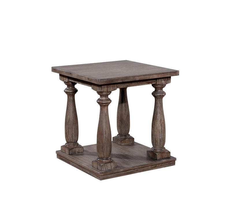 End Tables Wooden End Table with Turned Legs and Open Shelve, Rustic Gray Benzara