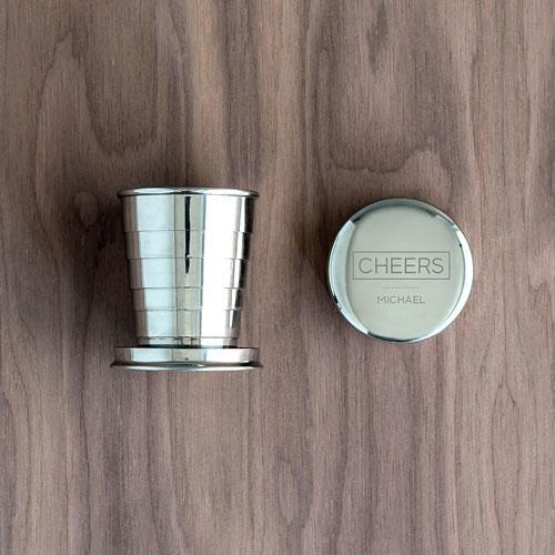 Engraved Collapsible Silver Shot Glass - Cheers Etching (Pack of 1)-Personalized Gifts For Men-JadeMoghul Inc.