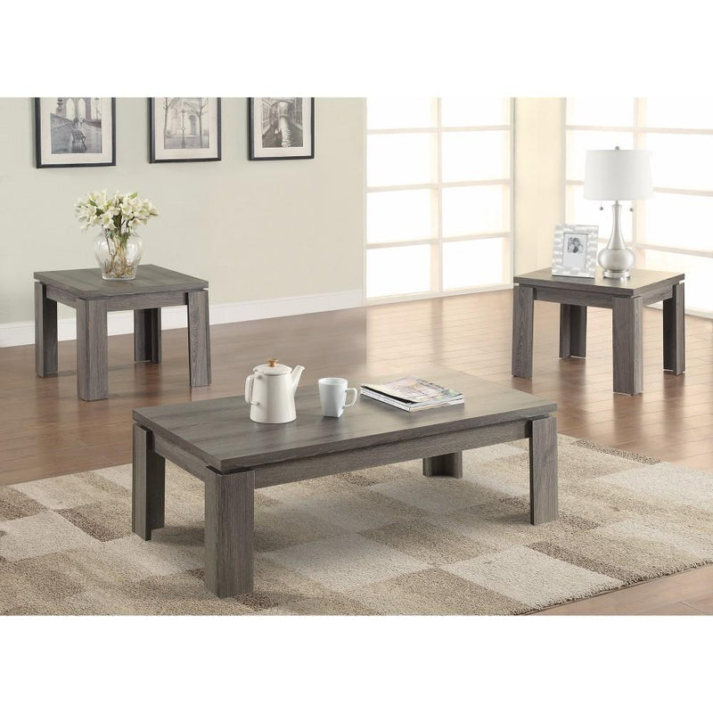 Enormous 3 piece weathered Gray occasional Table set-Coffee Table Sets-Gray-MDF-JadeMoghul Inc.