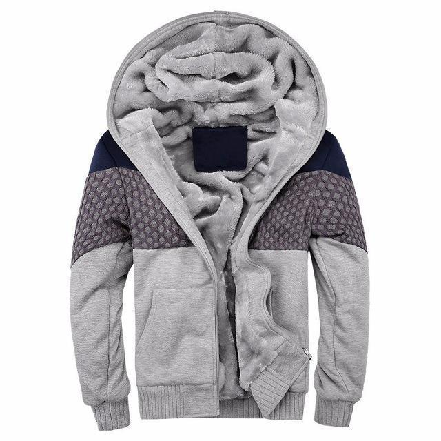 European Fashion Style Men Vintage Thickening Fleece Jacket / Warm Outerwear-w06 gray-S-JadeMoghul Inc.