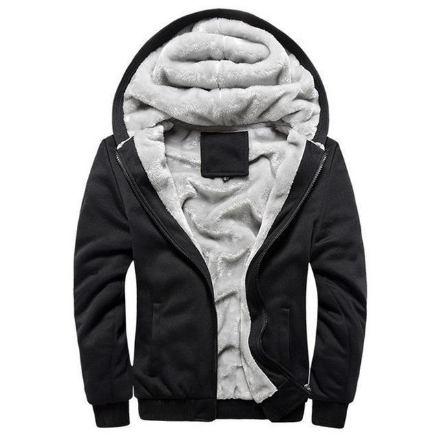 European Fashion Style Men Vintage Thickening Fleece Jacket / Warm Outerwear-w11 black-S-JadeMoghul Inc.