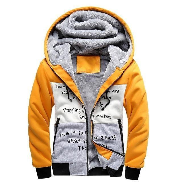 European Fashion Style Men Vintage Thickening Fleece Jacket / Warm Outerwear-w33 yellow-S-JadeMoghul Inc.