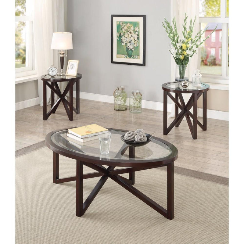 Exquisite 3 Piece Accent Table Set with Tempered Glass Top, Brown-Coffee Table Sets-BROWN And BLACK-JadeMoghul Inc.