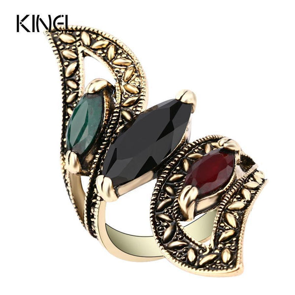 Fashion 2016 Vintage Big Ring Antique Gold Color Mosaic Colorful Resin Rings For Women Size 6 7 8 9 10 Turkish Jewelry-6-Multi-Antique Gold Plated-JadeMoghul Inc.