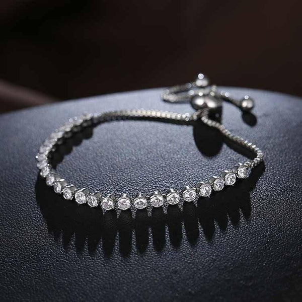 Fashion Crystal Silver Tennis Bracelet--JadeMoghul Inc.