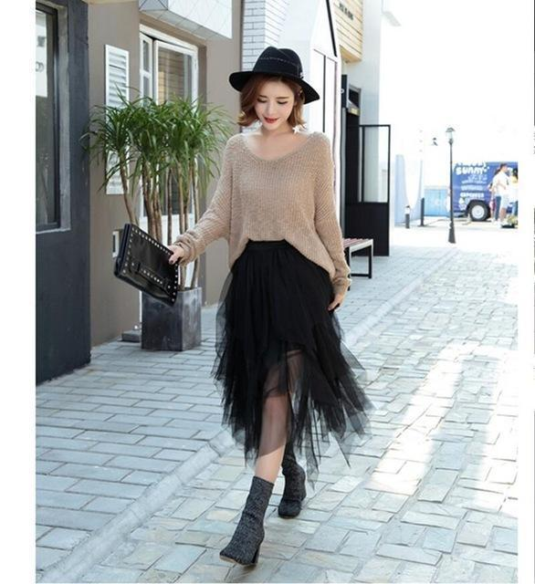 Fashion Elastic High Waist Long Tulle Skirt Women Irregular Hem Mesh Tutu Skirt 2017 Spring Party Skirt Ladies faldas detul-Black-One Size-JadeMoghul Inc.