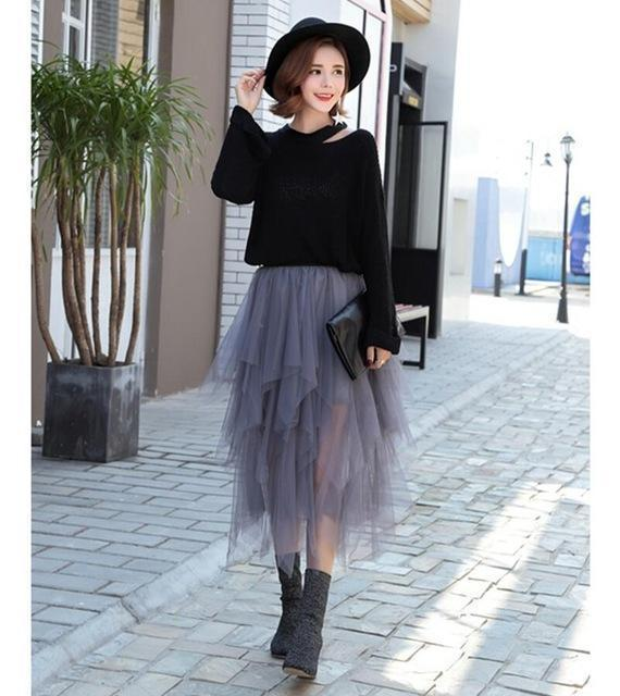 Fashion Elastic High Waist Long Tulle Skirt Women Irregular Hem Mesh Tutu Skirt 2017 Spring Party Skirt Ladies faldas detul-Gray-One Size-JadeMoghul Inc.