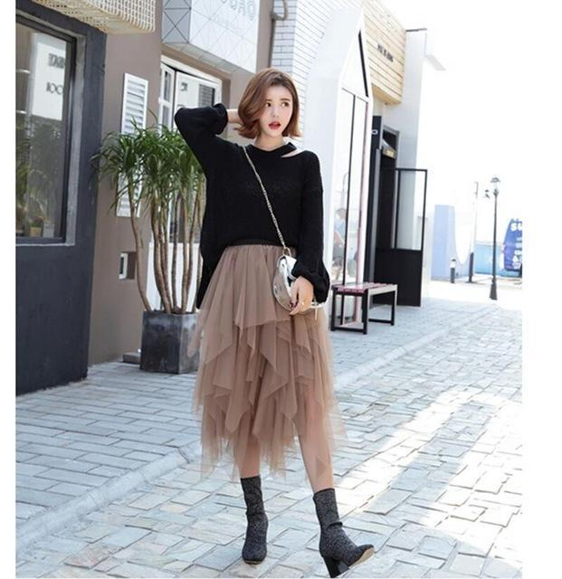 Fashion Elastic High Waist Long Tulle Skirt Women Irregular Hem Mesh Tutu Skirt 2017 Spring Party Skirt Ladies faldas detul-Khaki-One Size-JadeMoghul Inc.