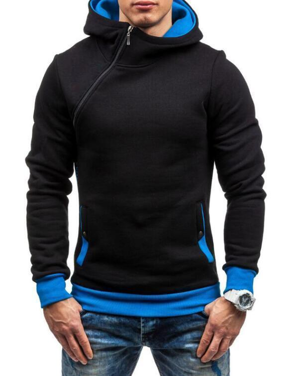 Fashion Hoodie For Men / Solid Zipper Hoodie-Black blue-M-JadeMoghul Inc.