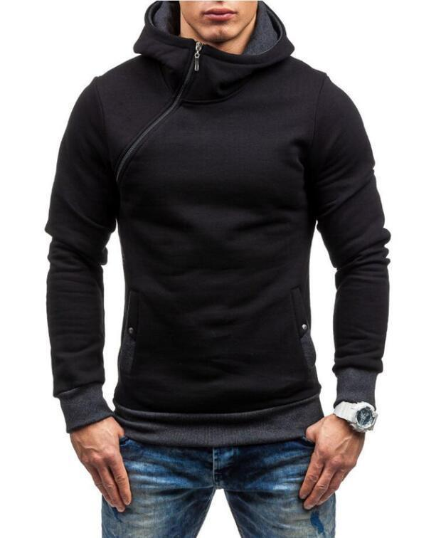 Fashion Hoodie For Men / Solid Zipper Hoodie-Black dark gray-M-JadeMoghul Inc.