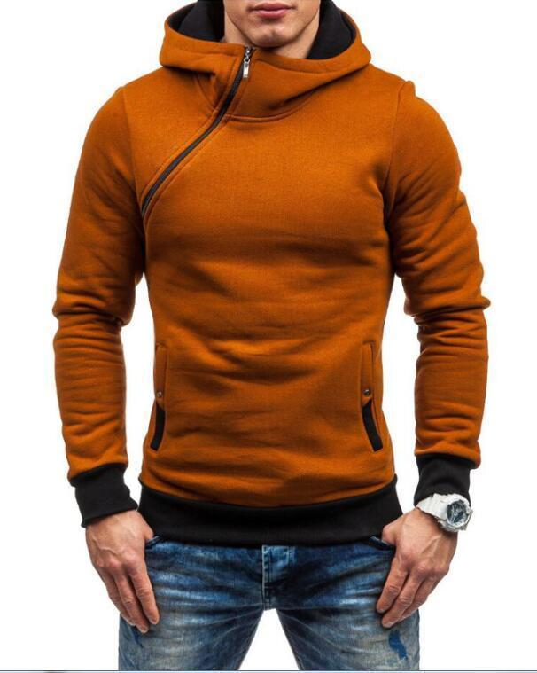 Fashion Hoodie For Men / Solid Zipper Hoodie-Camel-M-JadeMoghul Inc.