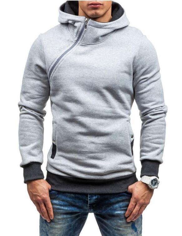 Fashion Hoodie For Men / Solid Zipper Hoodie-light Grey-M-JadeMoghul Inc.