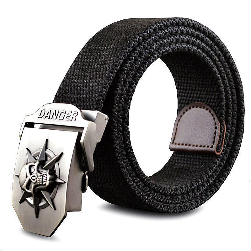 Fashion men's Canvas belt skull Metal tactics woven belt canvas belt Casual pants Cool wild gift for men belts Skull large size-White-100cm-JadeMoghul Inc.