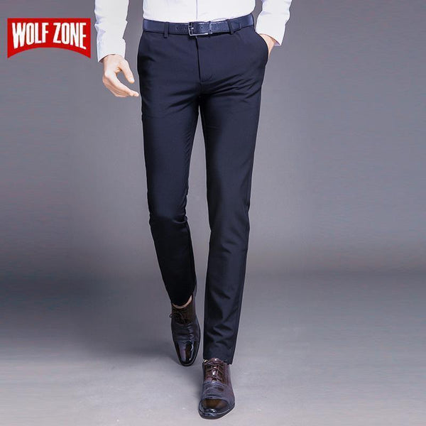Fashion New High Quality Cotton Men Pants Straight Spring and Summer Long Male Classic Business Casual Trousers Full Length Mid-Black-29-JadeMoghul Inc.