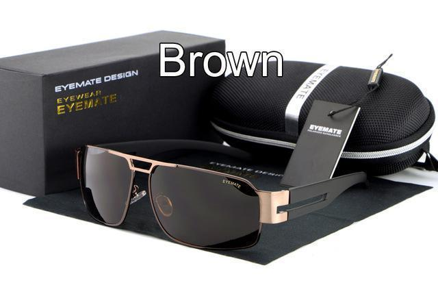 Fashion Polarized Driving Men Sunglasses UV400 Brand Design Rectangle Eyewear with High Quality Oculos Free Shipping-brown-JadeMoghul Inc.
