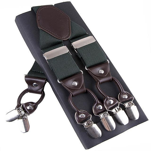 Fashion Suspenders leather alloy 6 clips Braces Male Vintage Casual suspensorio Trousers Strap Father/Husband's Gift 3.5*120cm-Army Green-JadeMoghul Inc.