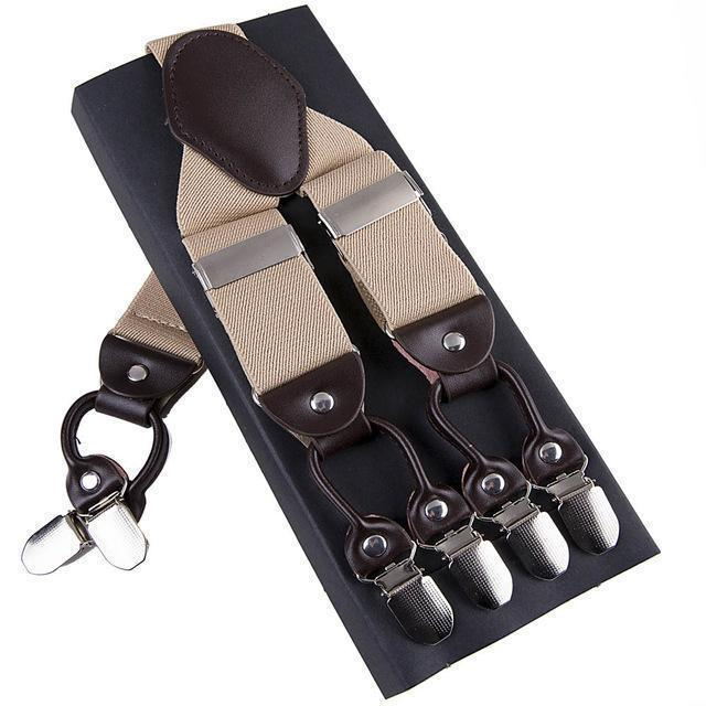 Fashion Suspenders leather alloy 6 clips Braces Male Vintage Casual suspensorio Trousers Strap Father/Husband's Gift 3.5*120cm-Beige-JadeMoghul Inc.