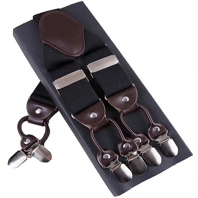 Fashion Suspenders leather alloy 6 clips Braces Male Vintage Casual suspensorio Trousers Strap Father/Husband's Gift 3.5*120cm-Black-JadeMoghul Inc.